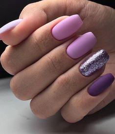66 Natural Summer Nails Design For Short Square Nails Page 20 of 66 - Summer Nail Colors Ideen Purple Nail Designs, Short Nail Designs, Nail Art Designs, Nails Design, Nail Polish Designs, Cute Acrylic Nails, Cute Nails, Pretty Nails, My Nails