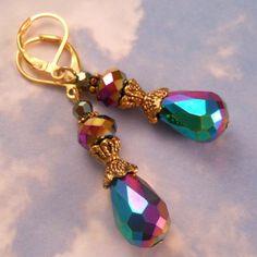 Rainbow Metallic Crystal Earrings