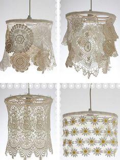 Lampenschirme aus alten Spitzendeckchen