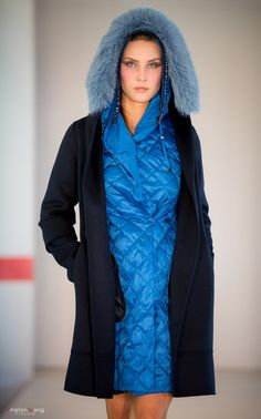 Blue quilted coat with navy overcoat by MaxMara, Oakridge Centre Fashion Show at Luxury & Supercar Weekend – Photo: Winston Wong http://styledrama.com/2014/09/09/sportswear-influence-fall/