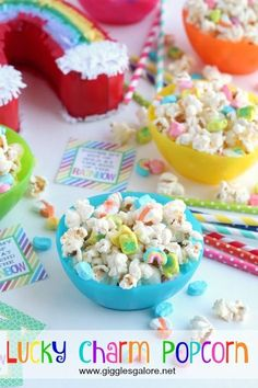 Easy and magically delicious St. Patrick's Day snack, Lucky Charm Popcorn.