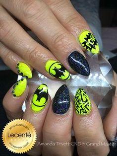 Amanda Trivett created these wonderful batman nails using CND Shellac, Neon Nail Shadows & handpainted batman logo, Swarovski crystals & design Neon French Manicure, French Nails, Toe Nails, Coffin Nails, Acrylic Nails, Black Nails, Pink Nails, Batman Nail Art, Neon Nail Art