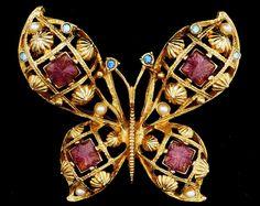 Huge Vintage Signed Butterfly Brooch Rhinestone Faux Pearl Guilloche Enamel Avon #Avon