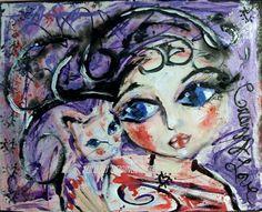 Cat Kitten LOVE Girl Lady SIGNED PRINT Series Feline Folk Artist Loralai #ModernFolk