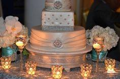 Silver Overlay - cute cake table idea