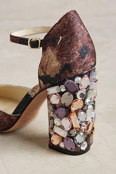 Divine Heels!  Bettye Muller Bejeweled Ankle Strap Heels - anthropologie.com
