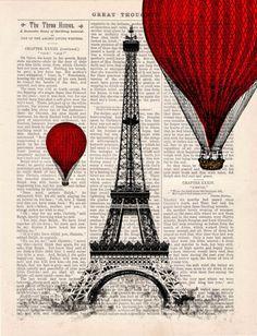 Eiffel Tower Balloon Ride Vintage Book
