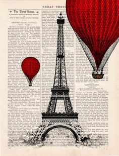 Eiffel Tower Balloon Ride Vintage Book Print, Etsy.