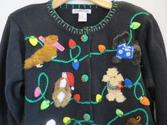 Black Christmas Sweater Dogs Puppies Med 3D Puppies Dogs String of Lights  #Collage #Cardigan #Christmas