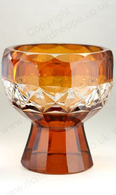 Vintage Amber Glass. Facet cut Deco footed bowl, c.1930s. To visit my website click here: http://www.richardhoppe.co.uk or for help or information email us here: info@richardhoppe.co.uk