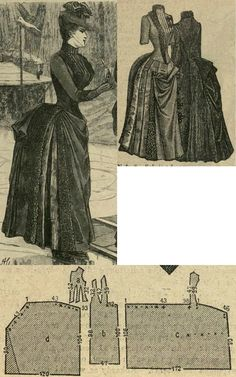 Tygodnik Mód 1887.: Skating dress from dark blue cloth,with silk plastron and feather trimming.