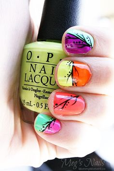Fun NEON Nail design perfect for Spring and Summer nails on MommyMoment.ca