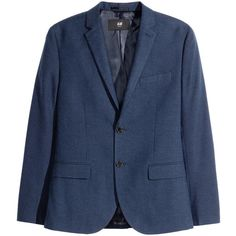Blazer Slim fit $79.99 ($80) via Polyvore featuring outerwear, jackets, blazers, blue blazer, print blazer, houndstooth blazer, flap jacket and blue blazer jacket