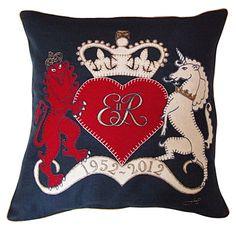 Lion & Unicorn linen cushion  £120  Jan Constantine