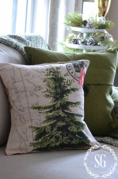 CHRISTMAS PILLOW GIVEAWAY-french tree-stonegableblog.com