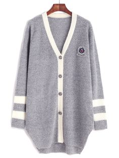 15$  Buy now - http://di5sm.justgood.pw/go.php?t=11463 - Grey Contrast Neckline Striped Sleeve Cardigan With Patch