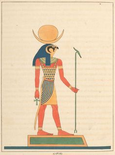 The ancient Egyptian god Khonsu, god of the moon, with the head of a falcon. Illustration by Léon-Jean-Joseph Dubois, published in 'Pantheon Egyptien' by Jean-François Champollion, 1823.