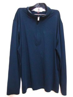 Michael Kors Mens 1/4 Zip Blue Knit Shirt Long Sleeve Cotton Jersey Henley XL #MichaelKors #Henley