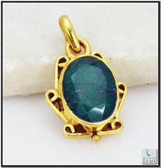 Indian Emerald Gem Stone 18 Ct Gold Platings Ethnic Pendant L 1.5in Gppiem-3204 http://www.riyogems.com