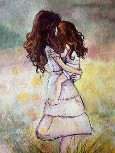 """Motherhood"" watercolor  and ink painting https://www.facebook.com/ArtintheKitchenByNicole?ref=hl"