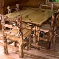 custom log dining room tables | ... Diner with Upholstered Seat ...