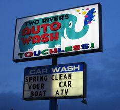 car wash sign at night, via Flickr. #Carwash #signs #CarwashLive