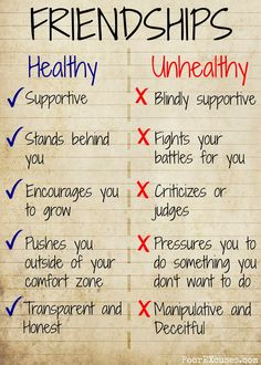Poor EXcuses: Healthy vs Unhealthy Friendships