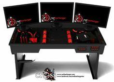 Computer pc desk mod modification setup gaming computer rig inside a desk cross desk red harbinger