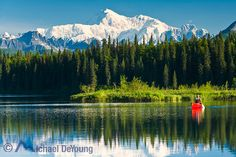 North America's highest peak, Mt. McKinley, rising above Byers Lake (Alaska State Park) with a canoeist paddling on the lake on calm morning.