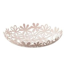 "Natura - Pink Metal Fruit Plate with Cut-Out Flour Pattern, 10"" Dia by SunLine. $15.00. Diameter: 10"", Height: 1.8"". Made of metal in pink finish. Durable solid construction. Designed in Japan. Use this beautiful plate to serve fruits or to store small items."