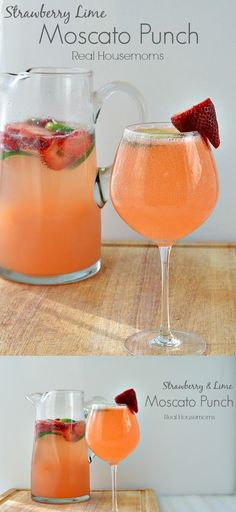 1 Lime. 1 cup Strawberries. 1 can Limeade concentrate, frozen. 1 1/2 liter Moscato wine.  2 Liter 7 Up.
