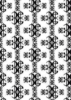 New Caledonia Lt std, William A. Dwiggins, 1938. Pattern 3 (bn):''asse tratti curvi è verticale'': c,e,o,- di New Caledonia Semibold. Ho scelto le lettere c,e,o perchè hanno dei tratti curvi, ho usato delle linee per far capire dove si trova l'asse verticale. Il pattern è molto semplice perchè volevo evidenziare al meglio questa sua caratteristica che in una composizione complessa non si sarebbe potuta vedere.