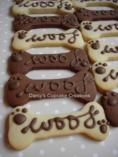 chocolate and almond sugar dog bone biscuits by Darcy's Cupcake Creations, via Flickr