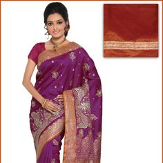 Magenta Art Silk Saree with Blouse