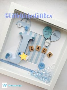 Baby Boy Birth / Child Initial Box Frame New Baby Nursery - Baby Kinder - Baby Boy Geburt / Kind Initial Box Rahmen New Baby Nursery Baby Boy Birth / Child Initial Box Frame New Baby Nursery, Scrabble Frame, Scrabble Art, Coloring For Boys, White Box Frame, Baby Frame, Baby Box Frame Ideas, Diy Bebe, Diy Gifts, Kid Decor
