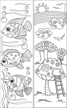 Fishes and Mushroom Village Coloring Bookmarks #mushroom #fish #doodles #coloring #markers