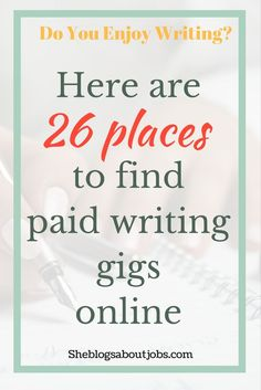 Here are a few websites you can use to get paid to write.  If you're interested you  can get paid to write articles or get paid to write for content mill or online magazines. Check out this article to learn more.