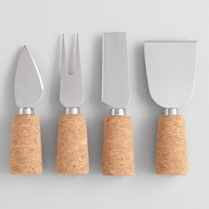 Stainless Steel and Cork 4 Piece Cheese Knife Set | World Market
