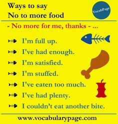 "Ways to say ""NO"" to more food"