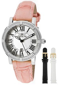 Invicta 13967 Women's Watch Angel Special Edition 3 Interchangeable Leather Bands - watches, leather, invicta, simple, mvmt, fossil watch *ad