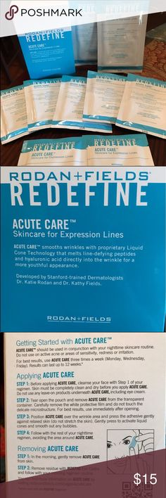Rodan and Fields Redefine Acute Care Strips Buy from this link: https://www.ebay.com/itm/322635246388   Sold Individually as a pack of 2 strips factory sealed from R&F.  Why buy a whole box to try the strips when you can buy a pack at a time to try them out? Cut them to fit a smaller wrinkle.   Smooths wrinkles with proprietary Liquid Cone Technnology that melts line-defying peptides and hyaluric acid directly into the wrinkle for a more youthful appearance. Developed by Stanford-trained…