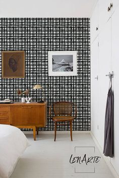 Plaid Wallpaper - Plaid Pattern - Removable Wallpaper - Black and White Wallpaper - Modern Pattern - Wall Decor - Wall Mural - Decal - 51