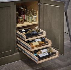 This is an awesome cabinet design for every wine lover! Design by Kitchen Cabinet Storage, Storage Cabinets, Liquor Cabinet, New Kitchen Gadgets, Pantry Makeover, Diy Kit, Smitten Kitchen, Base Cabinets, Kitchen Cabinets