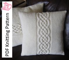 Knitting Pattern Celtic Knot 16″x16″ pillow cover PDF knitting pattern by:-LadyshipDesigns