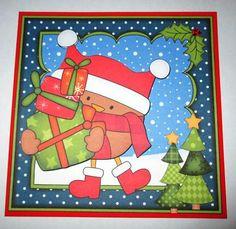 Card Gallery - 8 x 8 Christmas Bobbin Robin's Presents Scalloped Corner