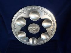Judaica vintage 12-1/2 inch pewter and glass Passover by shainkeit