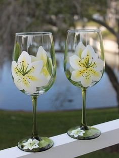 Hand Painted Wine Glasses Set of 2 White by SilkEleganceFlorals