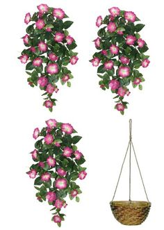 """Amazon.com - Three 32"""" Artificial Petunia Hanging Flower Bushes, with One Hanging Basket (11"""" Diameter), -"""
