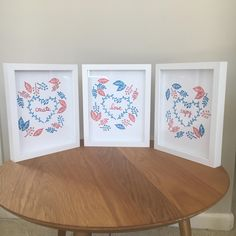 This is a set of three hand printed decorative items