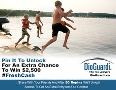 """CONTEST HAS ENDED. Next CONTEST July 22, 2013: http://www.dioguardi.ca/contest Thank you to all those who repinned. We have officially """"Unlocked"""" our Pin and now our Special offer to give you an extra entry into our $2500 Fresh Cash for Summer Contest brought to you by DioGuardi Tax Law, is now on! The more you share this, the more chances you could win. Happy Pinning!"""